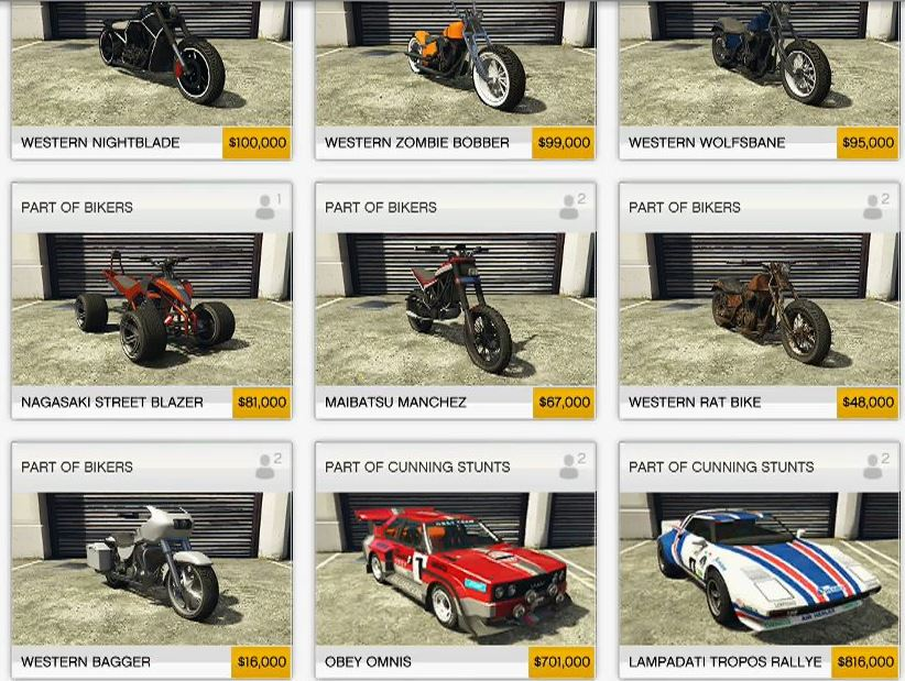 Gta  Online New Car Prices