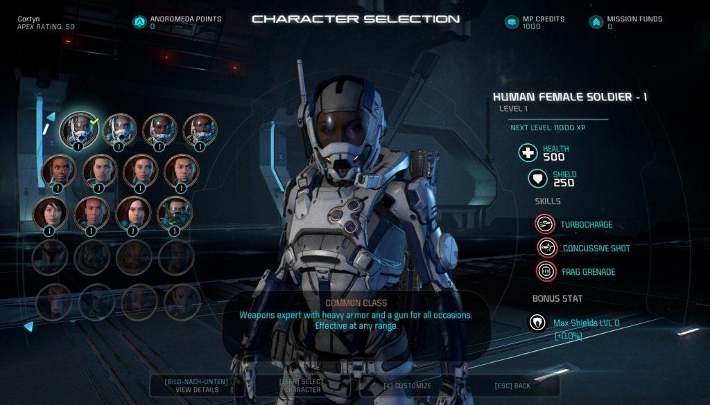 ME Andromeda Multiplayer Character Select