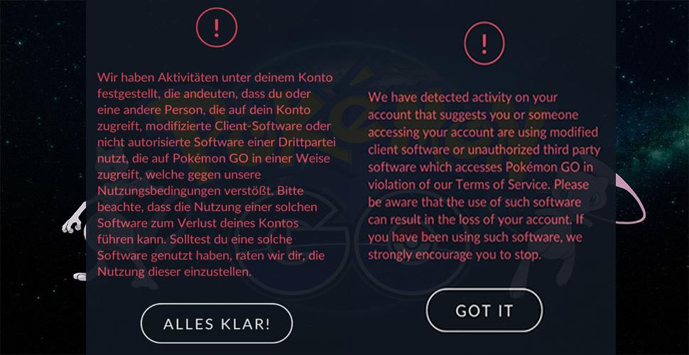 Pokémon GO Cheater Warnung